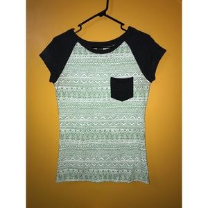 Mint green and grey t shirt with white pattern